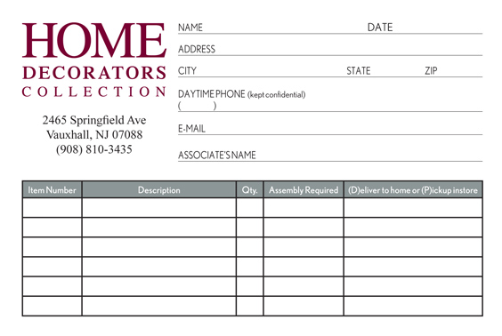 HOME DECORATORS COLLECTION HDC Form